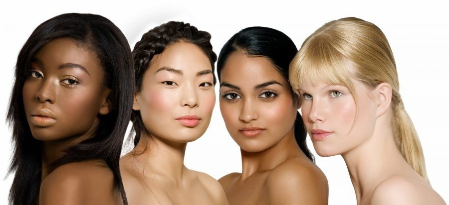 Multi-ethnic group of young women: African, Asian, Indian and Caucasian.