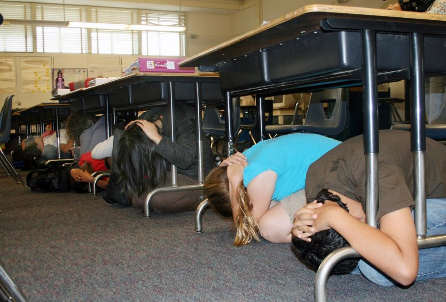 Students practicing the tornado/severe weather drill