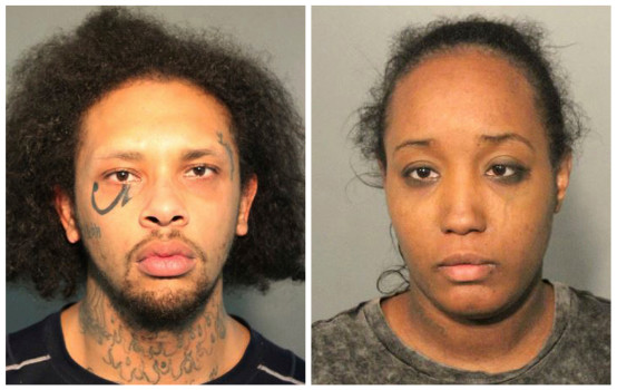 This photo combo of booking mugs provided by the Solano County Sheriff's Office in Fairfield, Calif., shows Jonathan Allen and his wife, Ina Rogers.