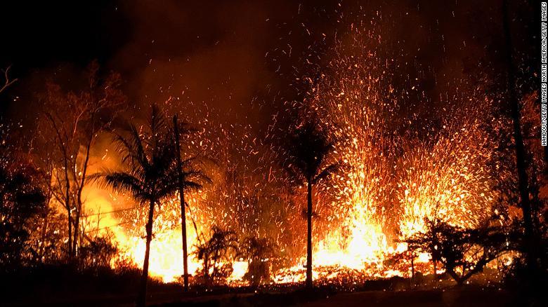 Lava destroying Hawaiian homes.